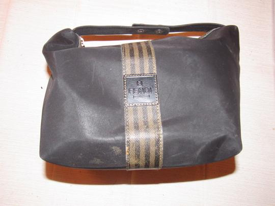 Fendi Timeless Style Clutch/Cosmetic Excellent Vintage Multi-purpose Piece Great To Mix & Match black and brown thin striped coated canvas, black fabric and black leather Clutch Image 6