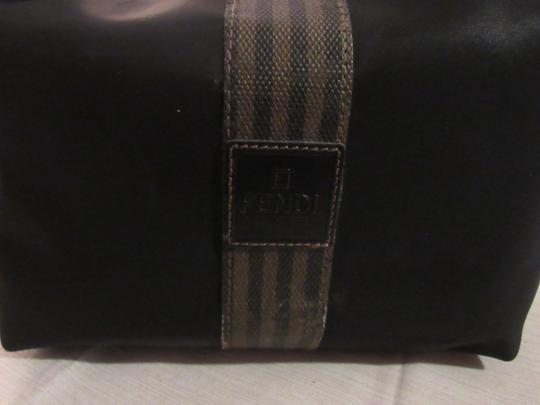 Fendi Timeless Style Clutch/Cosmetic Excellent Vintage Multi-purpose Piece Great To Mix & Match black and brown thin striped coated canvas, black fabric and black leather Clutch Image 7