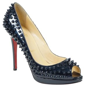Christian Louboutin Yolanda 38 Blue Peep Toe Metallic Blue Pumps