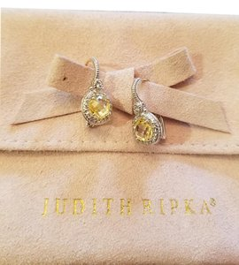 Judith Ripka Canary Crystal and White Sapphire Earings