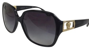 Versace New Versace MOD 4242-B GB1/8G Modosa Logo with Crystal Black Gold Plastic Style Sunglasses 135mm