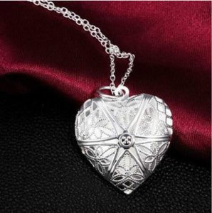Carved Silver Heart Locket Necklace Free Shipping