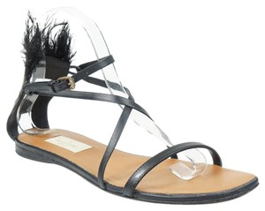 Valentino Feather Mask 38 Ankle Strap Gladiator Black Sandals