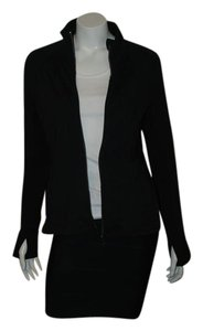 Athleta ATHLETA 551216 BLACK W/ 2 STRIPES ON BACK ZIP FRONT JACKET SZ M