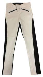 bebe Suede White and Black Leggings