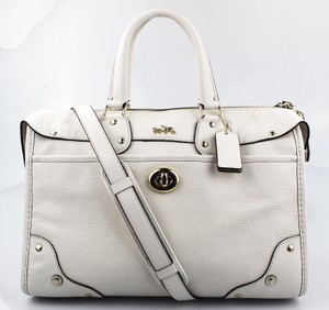 Coach Leather F33689 Satchel in white