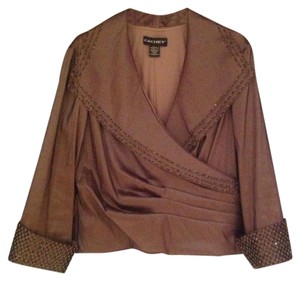 Cachet Top dark taupe with dark taupe sequin /beads