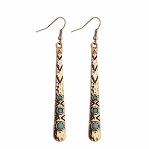 Long Dangle Turquoise Gold Native Earrings Free Shipping