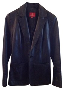 Cole Haan Leather Jacket One Button Classic black Blazer