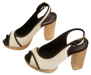 Chloé Chloe Chunky Heel Platform White and Neutral Tan with Brown Sandals