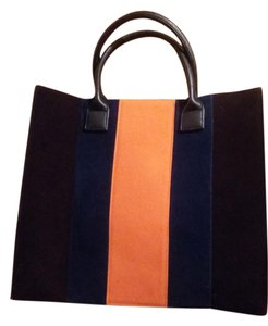 Lulu Dharma Tote in chocolate with navy and orange stripe