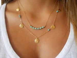 Anthropologie Multistrand Turquoise Bead Necklace