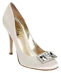 Joan & David Wedding Bridal Formal Satin Closed White Satin Pumps