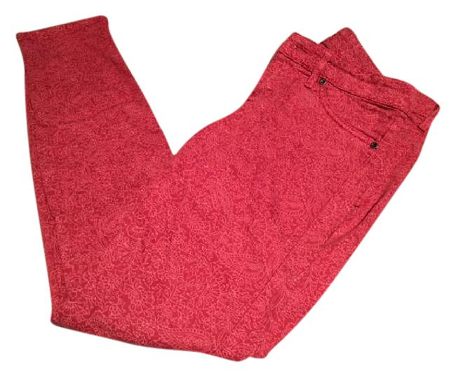 Item - Red Light Wash With Pink Pattern Skinny Jeans Size 26 (2, XS)