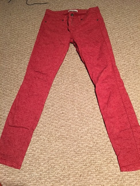 Rich & Skinny Red Light Wash With Pink Pattern Skinny Jeans Size 26 (2, XS) Rich & Skinny Red Light Wash With Pink Pattern Skinny Jeans Size 26 (2, XS) Image 2