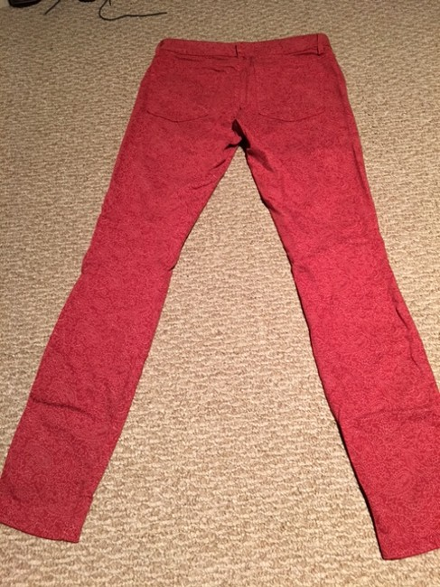 Rich & Skinny Red Light Wash With Pink Pattern Skinny Jeans Size 26 (2, XS) Rich & Skinny Red Light Wash With Pink Pattern Skinny Jeans Size 26 (2, XS) Image 3