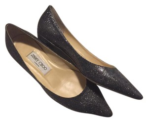 Jimmy Choo Pointed Toe Metallic Gold Tone Leather Sole Silver Flats