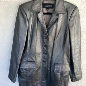 Ellen Tracy Vintage Leather Silver Leather Jacket