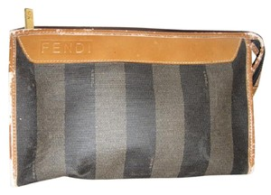 Fendi Timeless Style Good Vintage Versatile Piece pequin wide stripe print coated canvas and camel leather Clutch