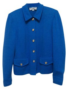 St. John St. John Collection by Marie Gray Blue Knit Skirt Suit