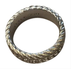 David Yurman David Yurman 18KT WHITE GOLD Streamline Pave Diamond Cable Ring Band For Men