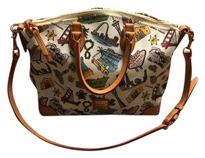 Dooney & Bourke Las Vegas Strap Soft Leather Colorful Print Top Handles Hobo Bag