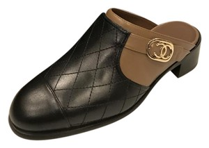 Chanel Quilted Cc Light Brown/Black Mules
