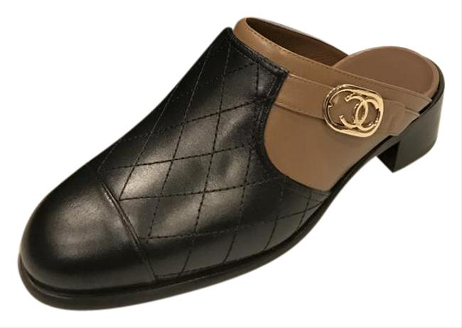 Item - Light Brown/Black 16b Quilted Leather Cc Sandals Mules/Slides Size EU 36.5 (Approx. US 6.5) Regular (M, B)