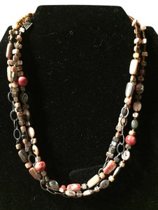 Silpada 3 strand silver, coral, & abalone shell necklace