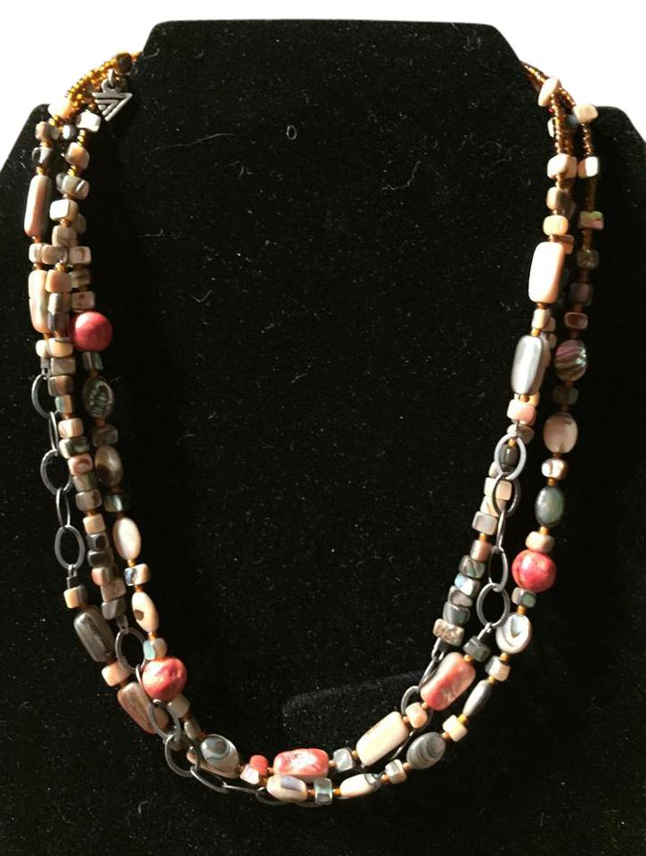Silpada multi color 3 strand silver coral abalone shell necklace silpada 3 strand silver coral abalone shell necklace aloadofball Images