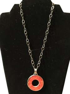 Silpada Antiqued silver chain & Coral circle pendant