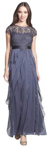 Adrianna Papell Lace Trim Tiered Gown Dress