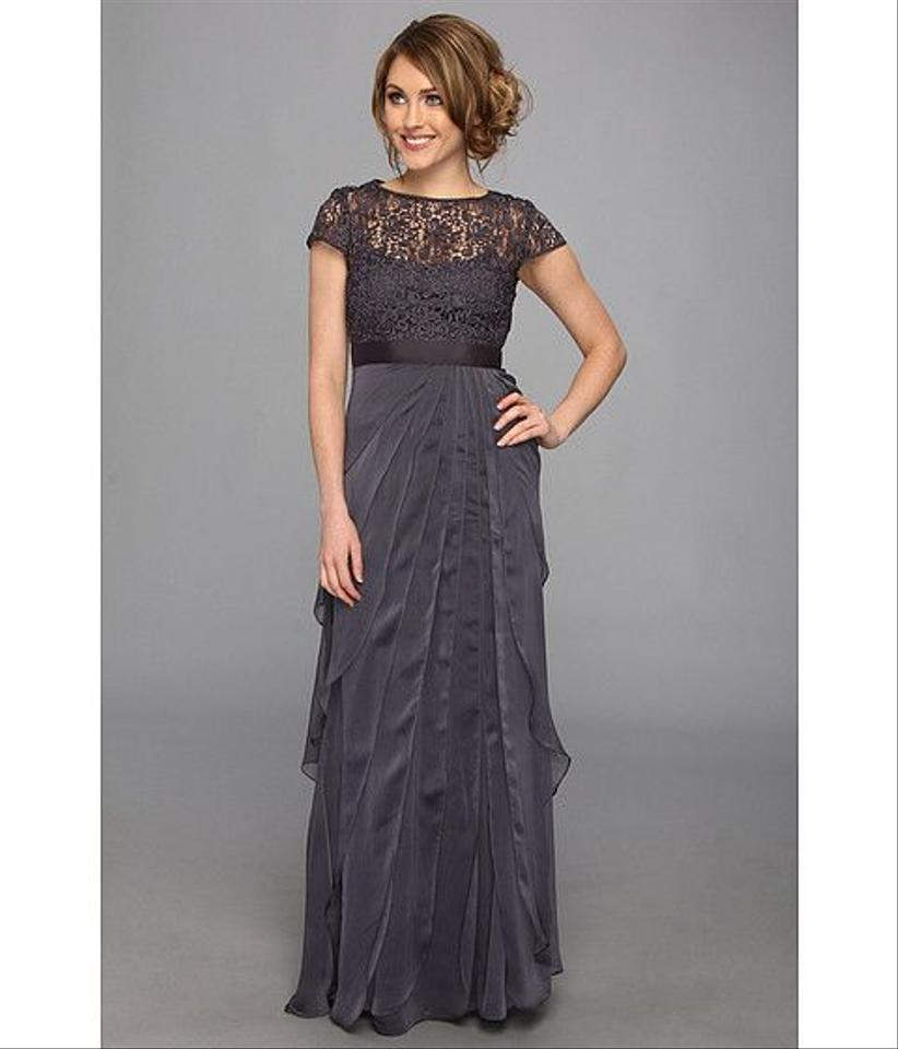 Adrianna Papell Charcoal Cap-sleeve Lace Tiered Gown Long Formal ...