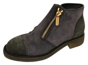 Chanel Zip Suede Two Tone Navy/Black Boots