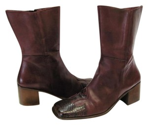 George Size 7.50 M Leather Reptile Design Very Good Condition Dark Red Boots
