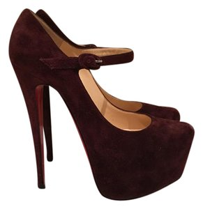 Christian Louboutin Suede Strappy Luxury Casual maroon Platforms