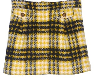 Juicy Couture Checkered Plaid Wool Multi Color Mini Skirt Yellow/Black