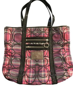Coach Tote in Pink and purple plaid