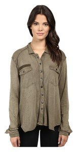Free People Button Down Shirt Olive