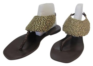 BCBGeneration Size 8.50 M Beaded Gold Hardware Leather Very Good Condition Brown, Gold, Sandals