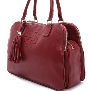 Tory Burch Pebbled Leather Large Tassel Euc Satchel in Red