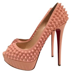 Christian Louboutin Patent Spike Embellished Party Casual baby pink Platforms