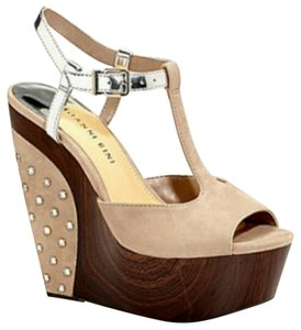 Gianni Bini Nicolette Sparkle Studded Nude and Silver Wedges
