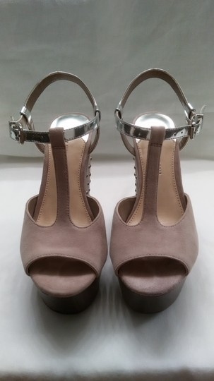 Gianni Bini Nicolette Sparkle Studded Nude and Silver Wedges Image 3