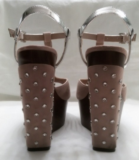 Gianni Bini Nicolette Sparkle Studded Nude and Silver Wedges Image 6