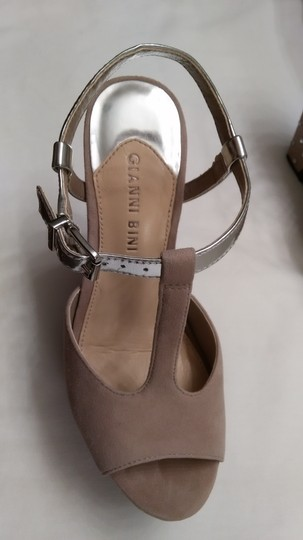 Gianni Bini Nicolette Sparkle Studded Nude and Silver Wedges Image 8