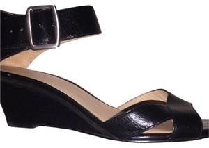 Nine West Wedge Buckle Ankle Strap Work Spring Black Sandals