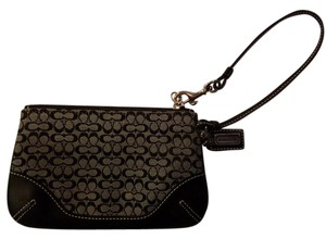 Coach Fabric Leather Wristlet in Black