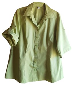 Coldwater Creek No Iron Button Down Shirt Green