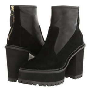 Shellys London Chunky Heel Platform Black Leather & Suede Boots